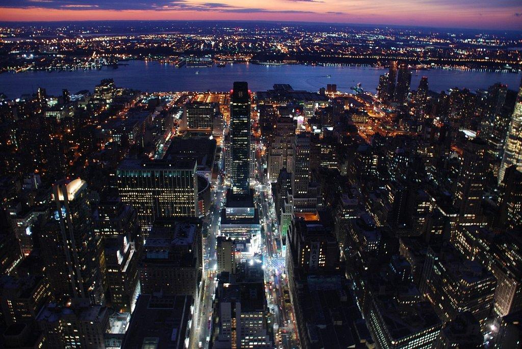 NY city birds eye night view